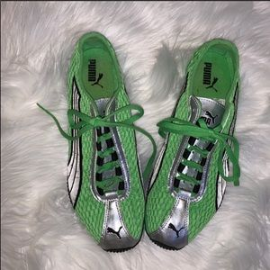 Puma H Street Lime Green and Silver Sneakers 10